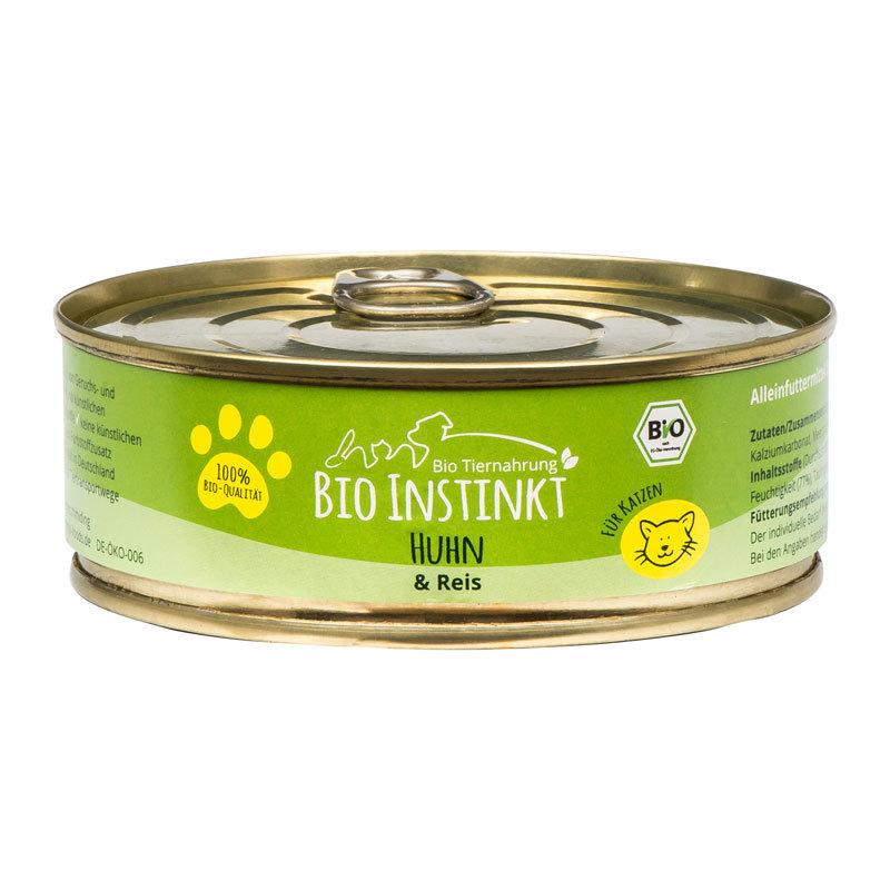 Organic-Animal-Foods-BioInstinkt-Tiernahrung-verpackt-für-Katzen-huhn-reis-dose