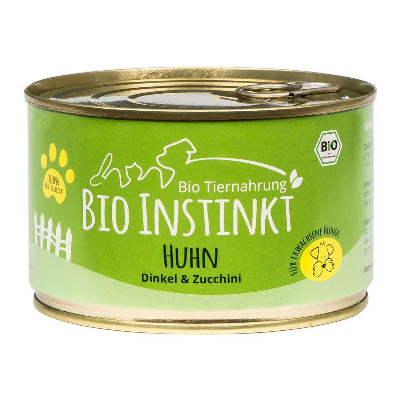 Organic-Animal-Foods-BioInstinkt-Tiernahrung-verpackt-für-erwachsene-Hunde-huhn-dinkel-zucchini-dose