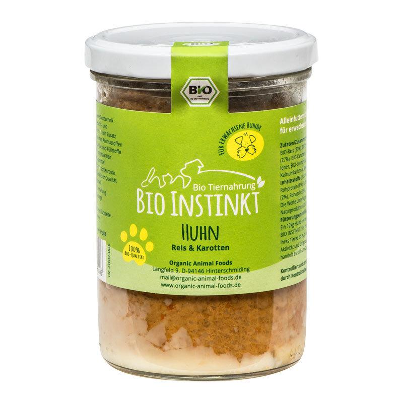 Organic-Animal-Foods-BioInstinkt-Tiernahrung-verpackt-für-erwachsene-Hunde-huhn-reis-karotten-glas