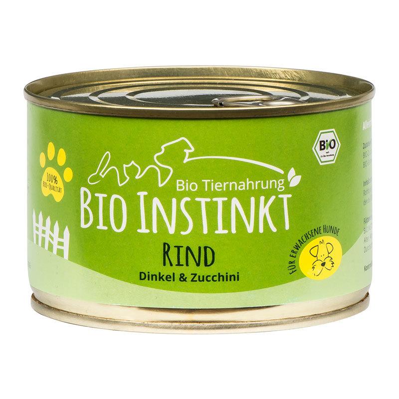 Organic-Animal-Foods-BioInstinkt-Tiernahrung-verpackt-für-erwachsene-Hunde-rind-dinkel-zucchini-dose