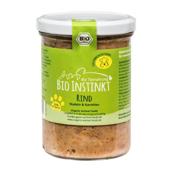 Bio Hundefutter Rind Nudeln und Karotten