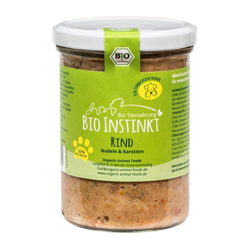 Organic-Animal-Foods-BioInstinkt-Tiernahrung-verpackt-für-erwachsene-Hunde-rind-nudeln-karotten-glas