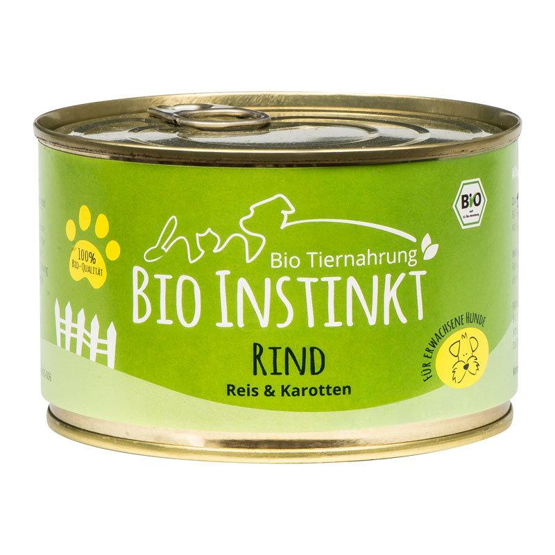 Organic-Animal-Foods-BioInstinkt-Tiernahrung-verpackt-für-erwachsene-Hunde-rind-reis-karotten-dose