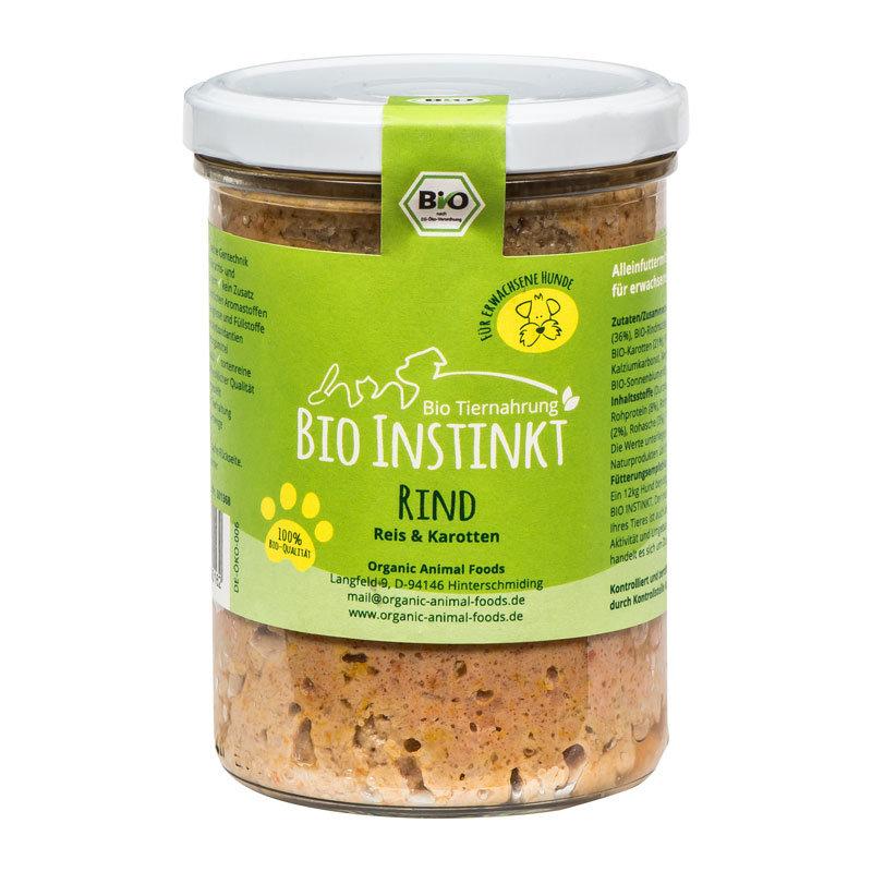 Organic-Animal-Foods-BioInstinkt-Tiernahrung-verpackt-für-erwachsene-Hunde-rind-reis-karotten-glas